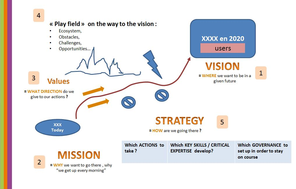 Establish a vision of an entity, with focus on customers, and develop the strategy for achieving that vision